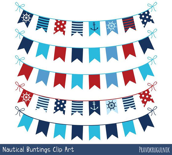 Nautical bunting clipart red blue, Nautical banner clip art.