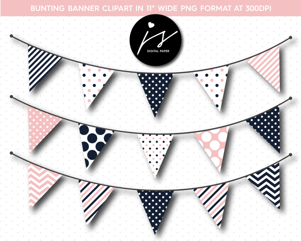 Pink and navy blue triangle bunting banner flag clipart, BU.