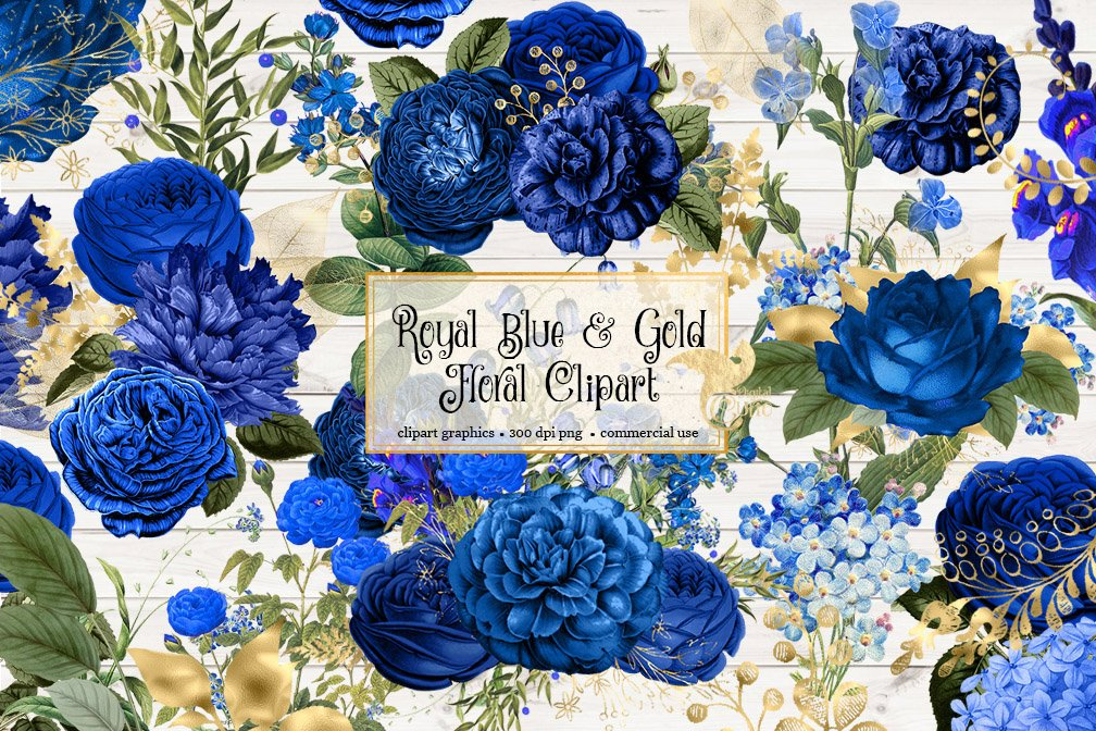 Royal Blue and Gold Floral Clipart shabby chic wedding rustic navy blue and  gold foil flowers vintage antique clip art embellishments.