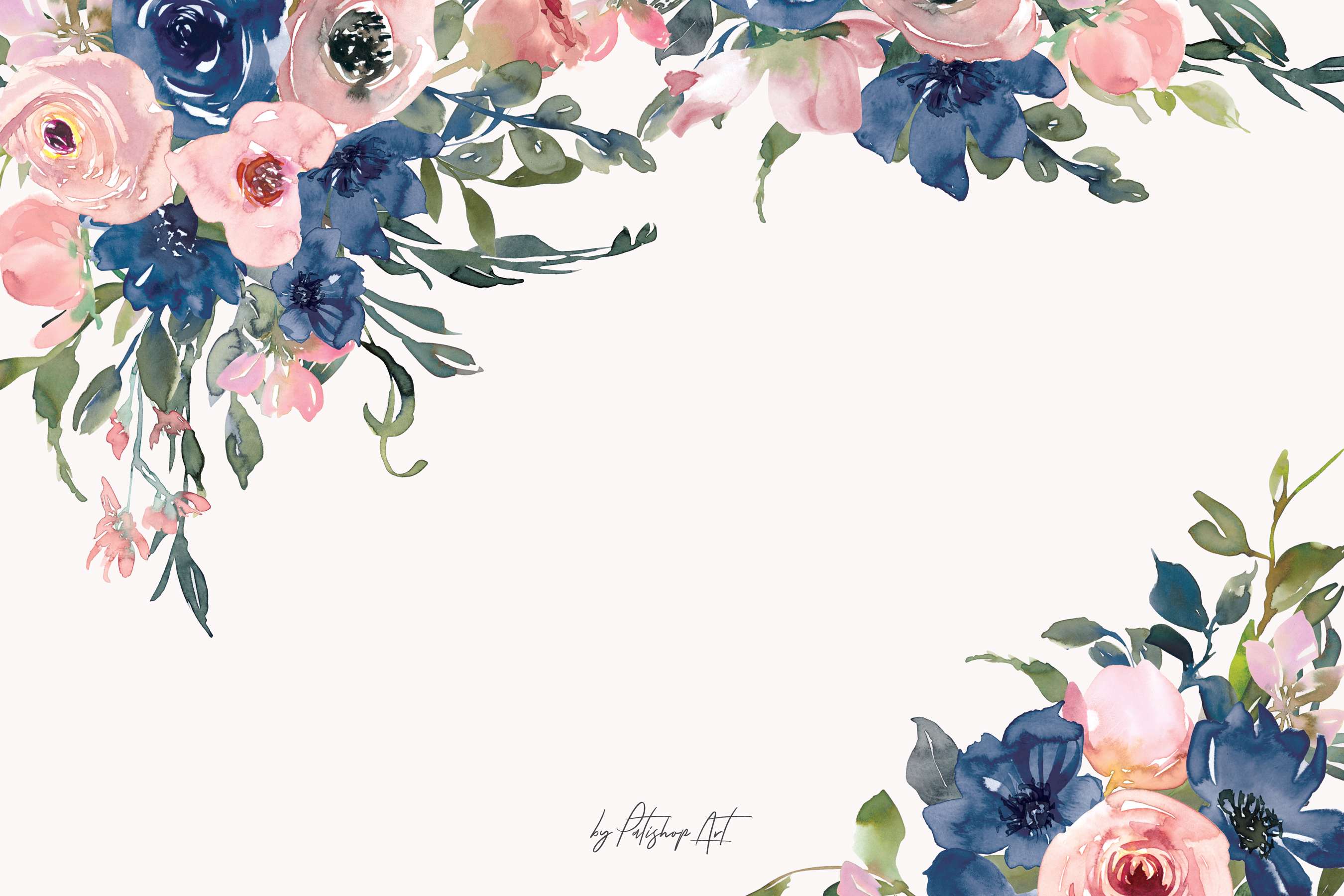 Watercolor Navy and Blush Floral Bouquet Clipart.