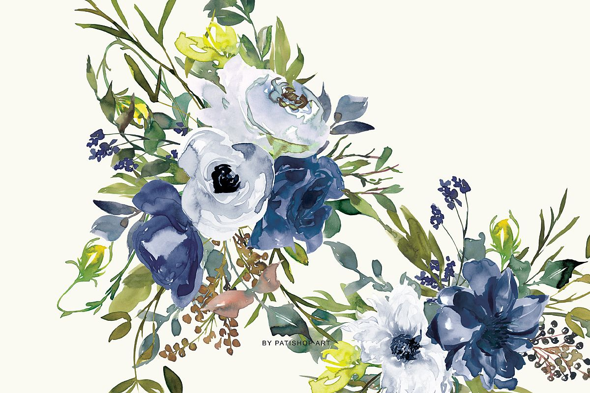 Watercolor Navy White and Yellow Floral Bouquet Clipart.