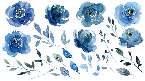 Watercolor Blue Flowers Clipart Indigo Navy Sapphire Roses.