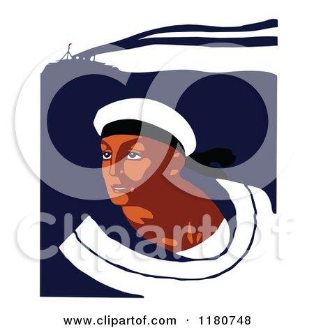 Clipart of a Retro Vintage Navy Sailor.