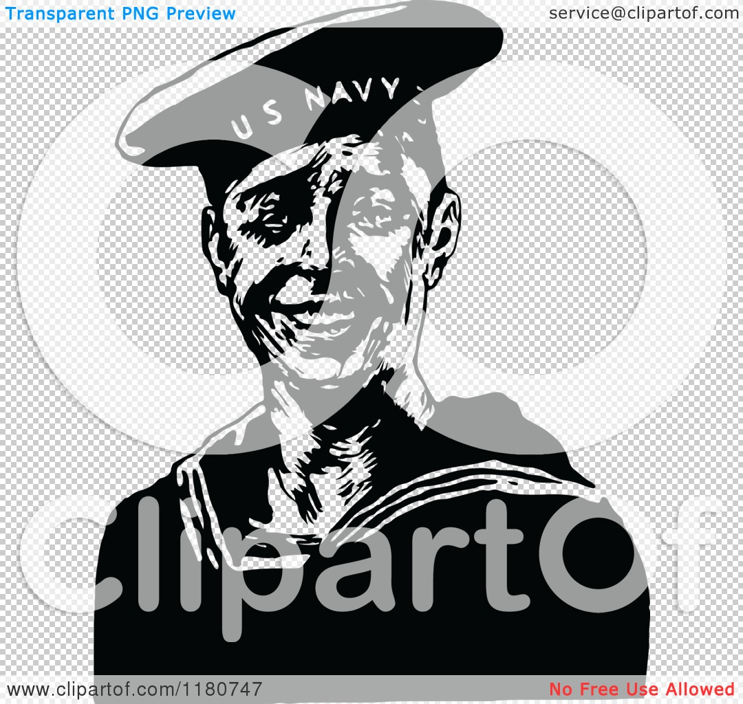 Clipart of a Retro Vintage Black and White Navy Sailor.