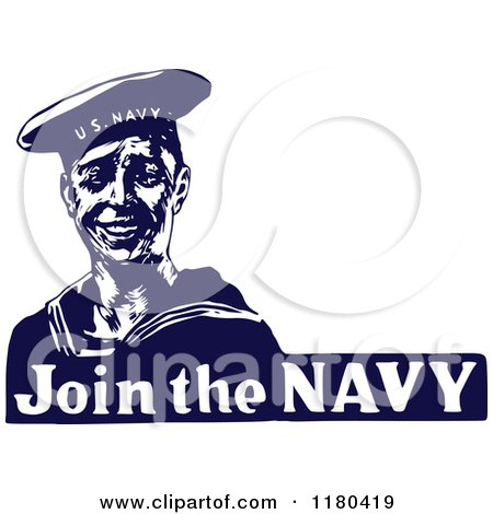 Clipart of a Retro Vintage Blue and White Join the Navy Sailor.