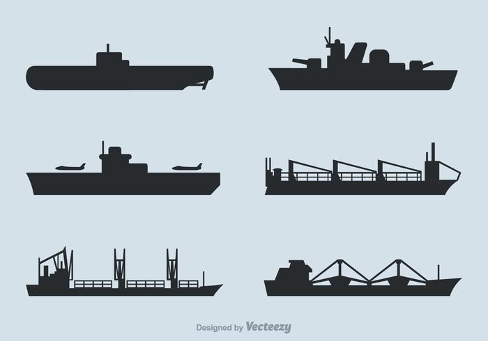 Free Ships Silhouettes Vector Set.