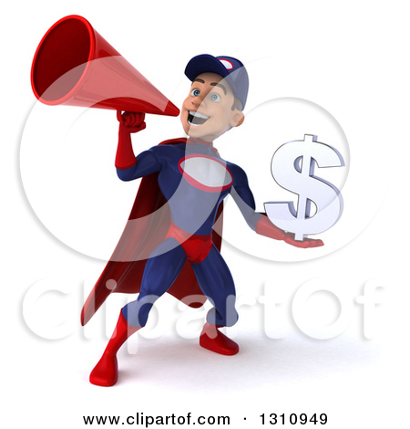 Clipart of a 3d Young White Male Super Hero Mechanic in a Navy.