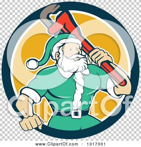 Clipart of a Cartoon Plumber Santa in a Green Suit, Holding a.
