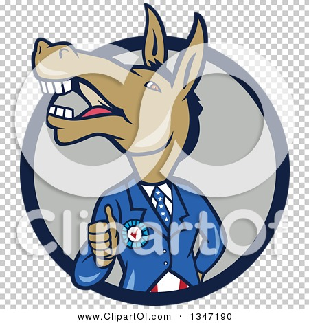 Clipart of a Cartoon Politician Democratic Donkey in a Suit.
