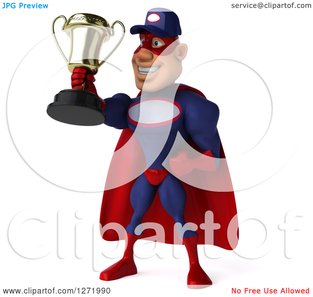 Clipart of a 3d White Male Super Hero Mechanic in a Navy Blue and.