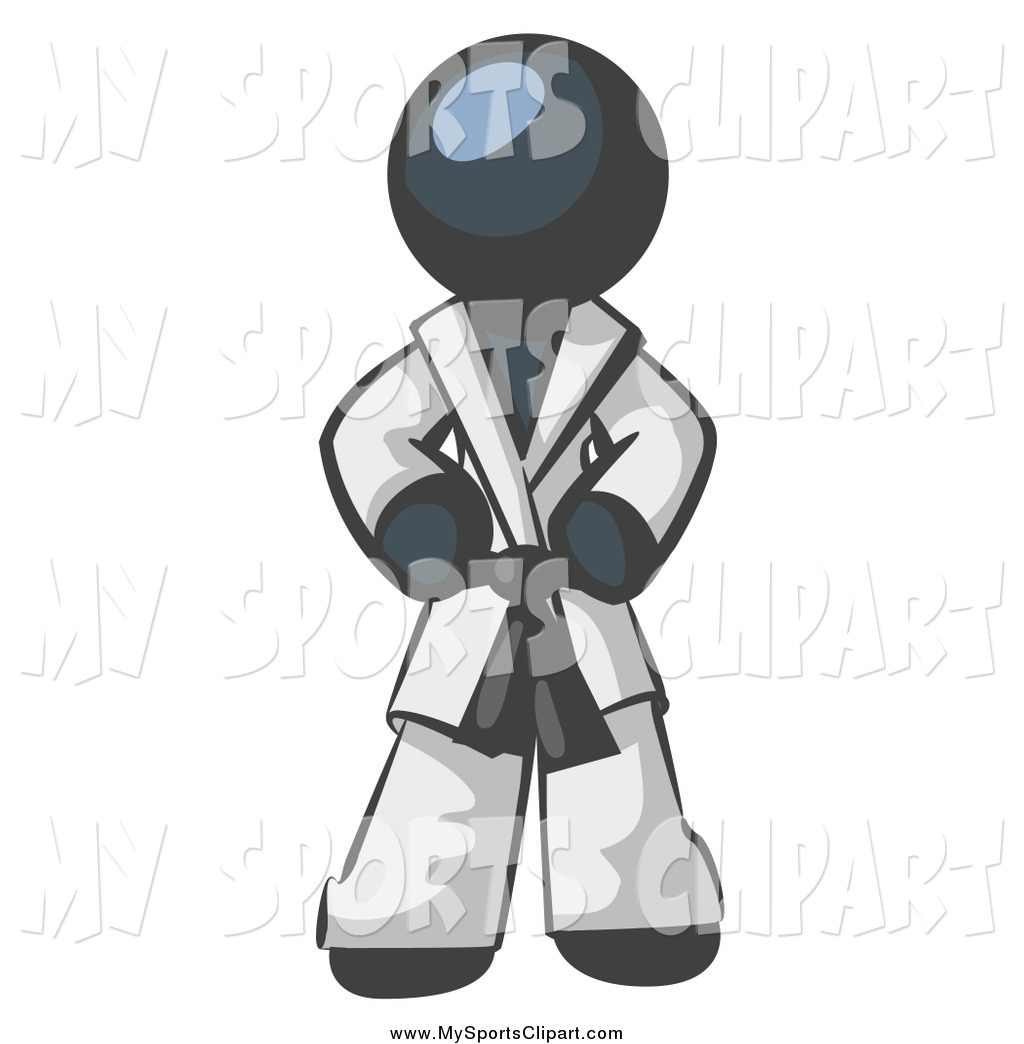 Sports Clip Art of a Navy Blue Man in a White Karategi Suit by Leo.