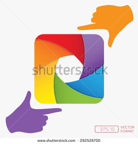 Vector Illustration Rainbow Camera Shutter Photographers Stock.