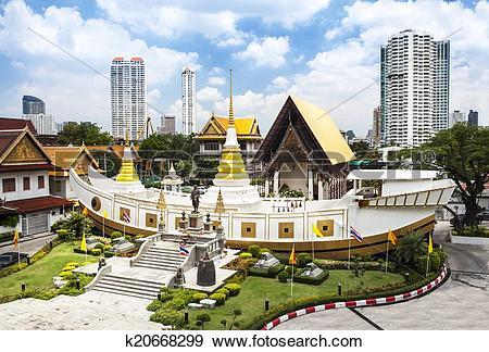 Stock Photograph of Wat Yan Nawa, boat shaped temple, Bangkok.