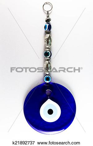 Picture of Turkish Nazar amulet, charm against evil eye. Blue.