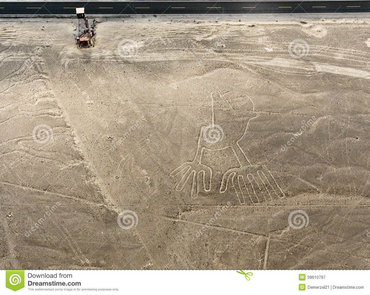 Nazca Lines Hands Stock Photo.