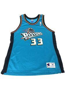 Details about Vintage Grant Hill Champion Gold Logo Detroit Pistons #33  Sewn NBA Jersey XL 48.