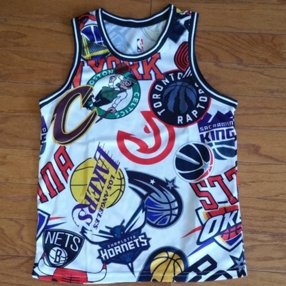 New NBA All Over Team Logo Jersey NWT.