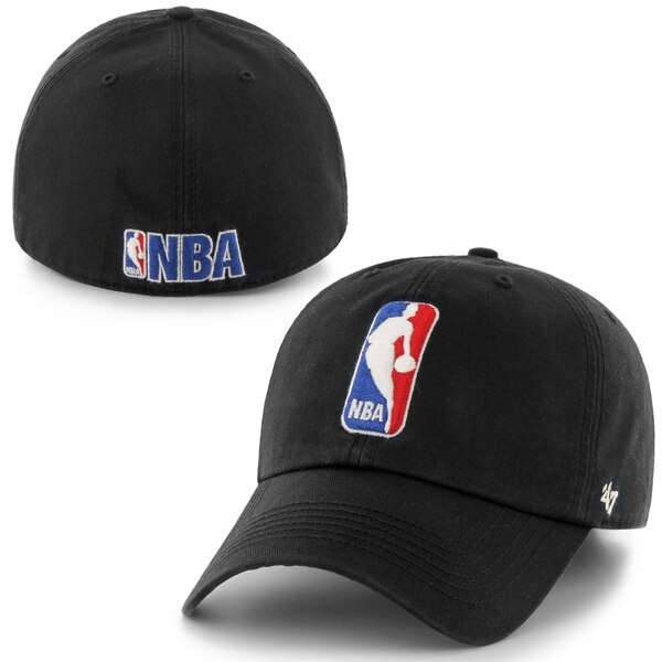 Mens NBA Logo \'47 Brand Black Franchise Fitted Hat.
