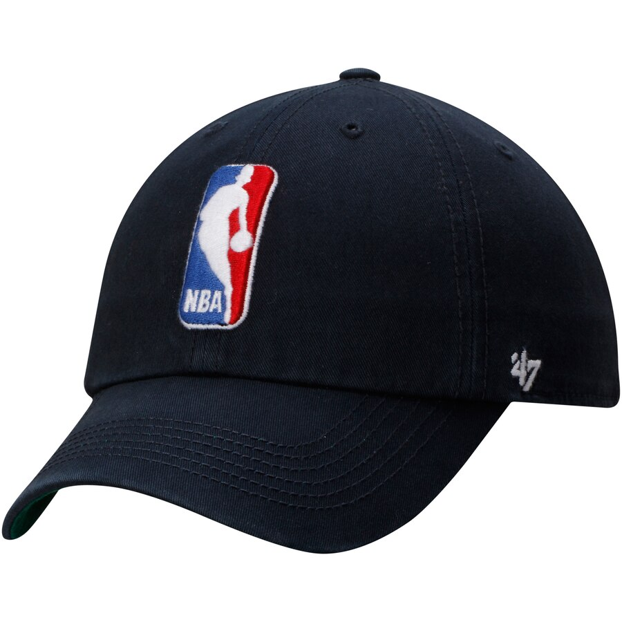 Mens NBA Logo \'47 Brand Navy Blue Franchise Fitted Hat.
