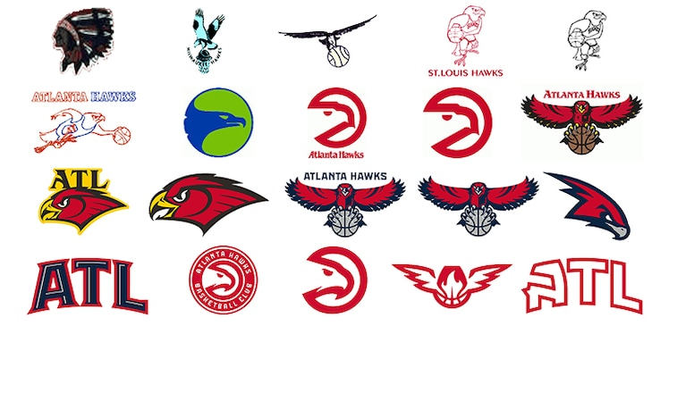 Swipe Right On Hawks Logos Over Time.