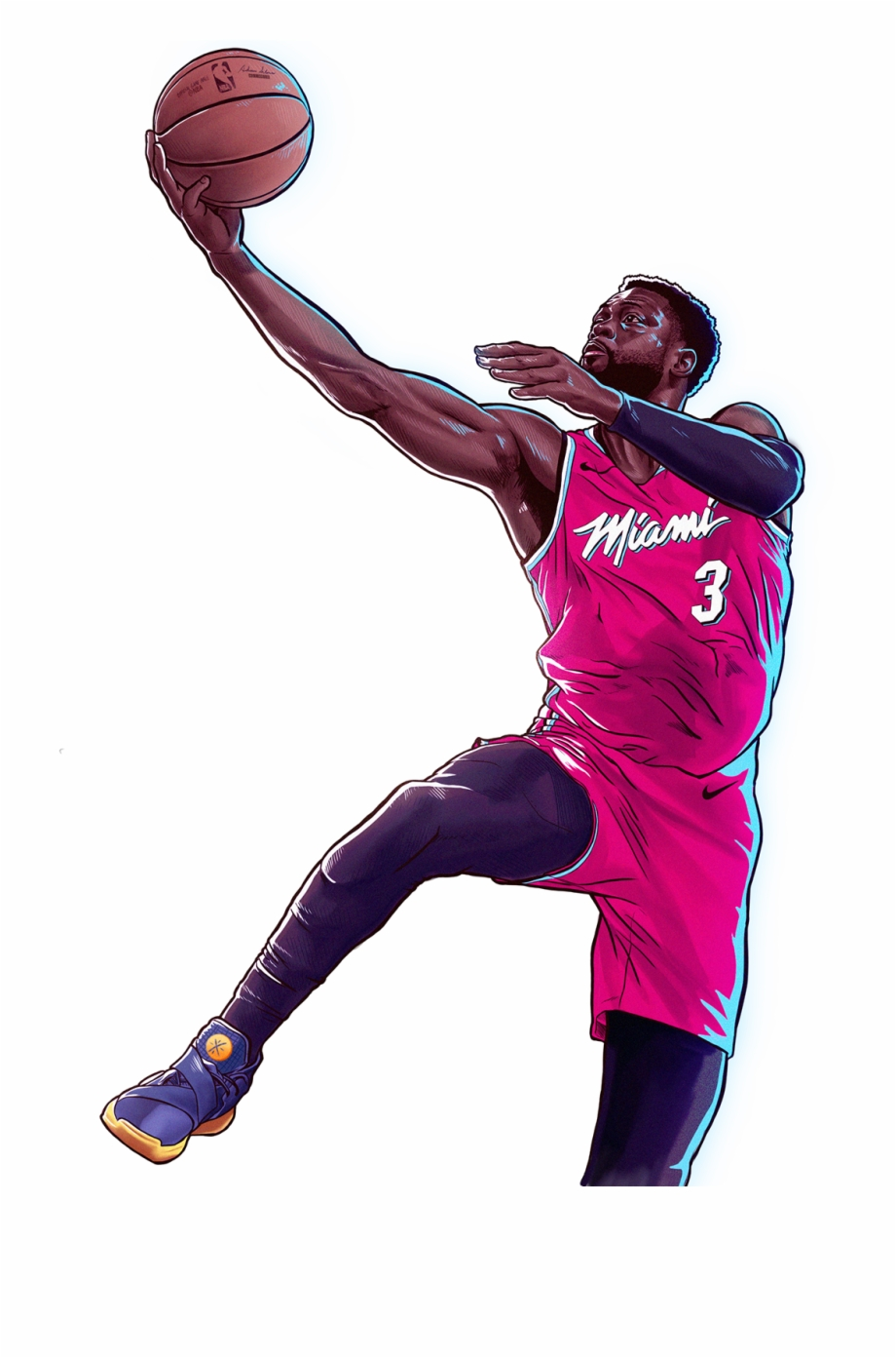 Nba Dwyane Wade Bday Illustration.