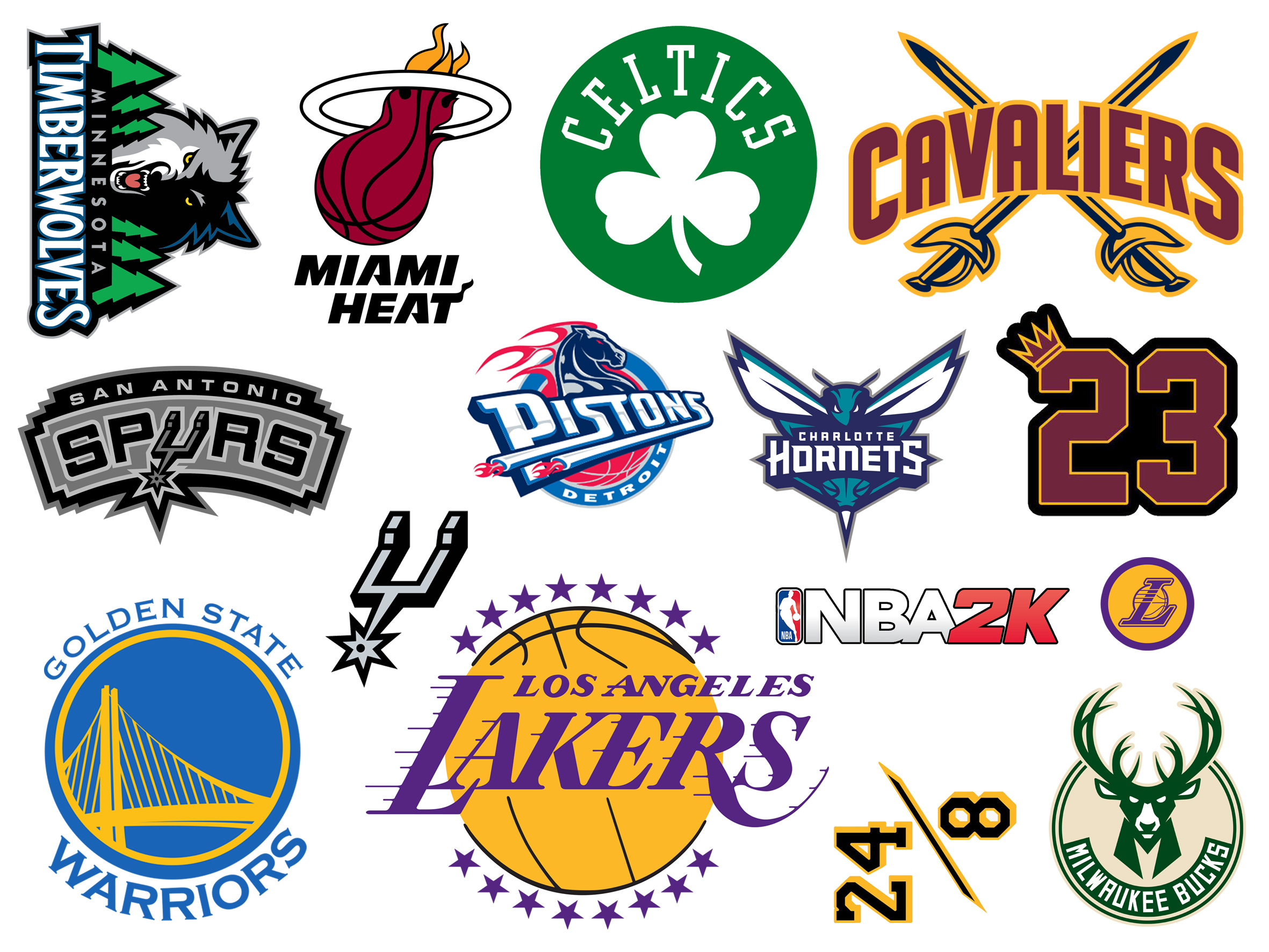 2000\'s NBA Teams Logos Vinyl Sticker Pack (Vintage Basketball Stickers for  Phones, Laptops, Motorcycles and more).