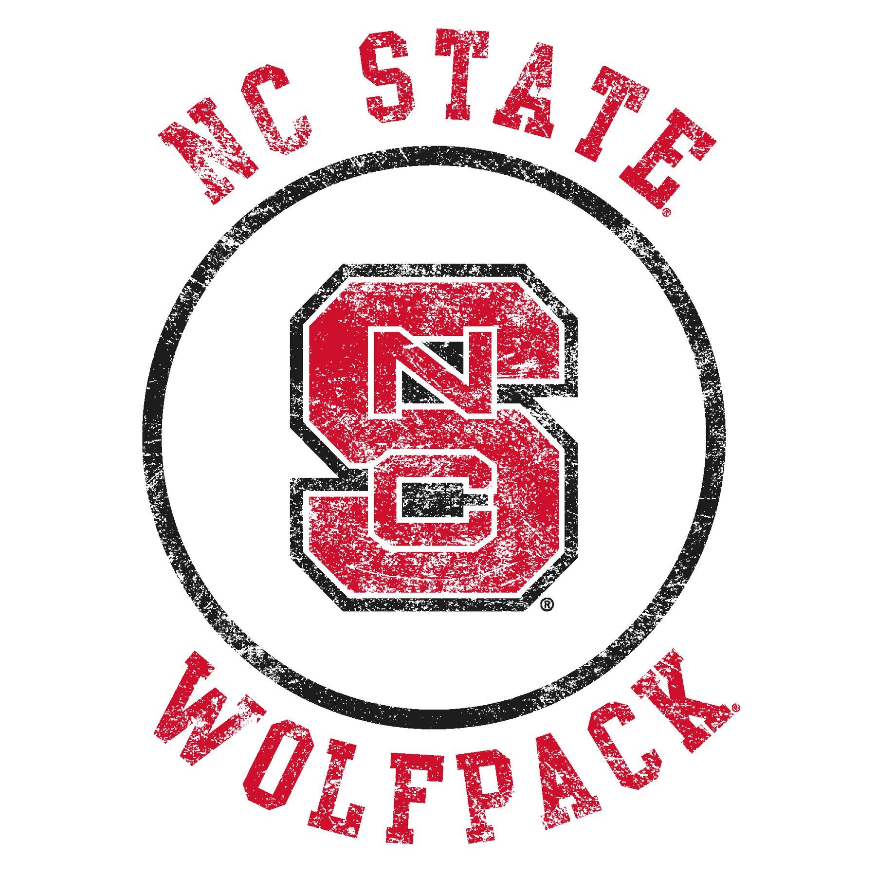 North Carolina State University Wolfpack Distressed Circle Logo Long Sleeve  T Shirt.