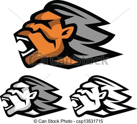 Vector Clip Art of Neanderthal head.