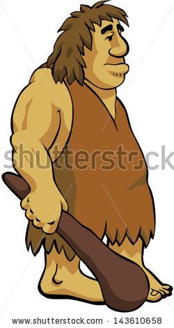 Neanderthal Caveman Holding His Club Stock Vector 143610658.