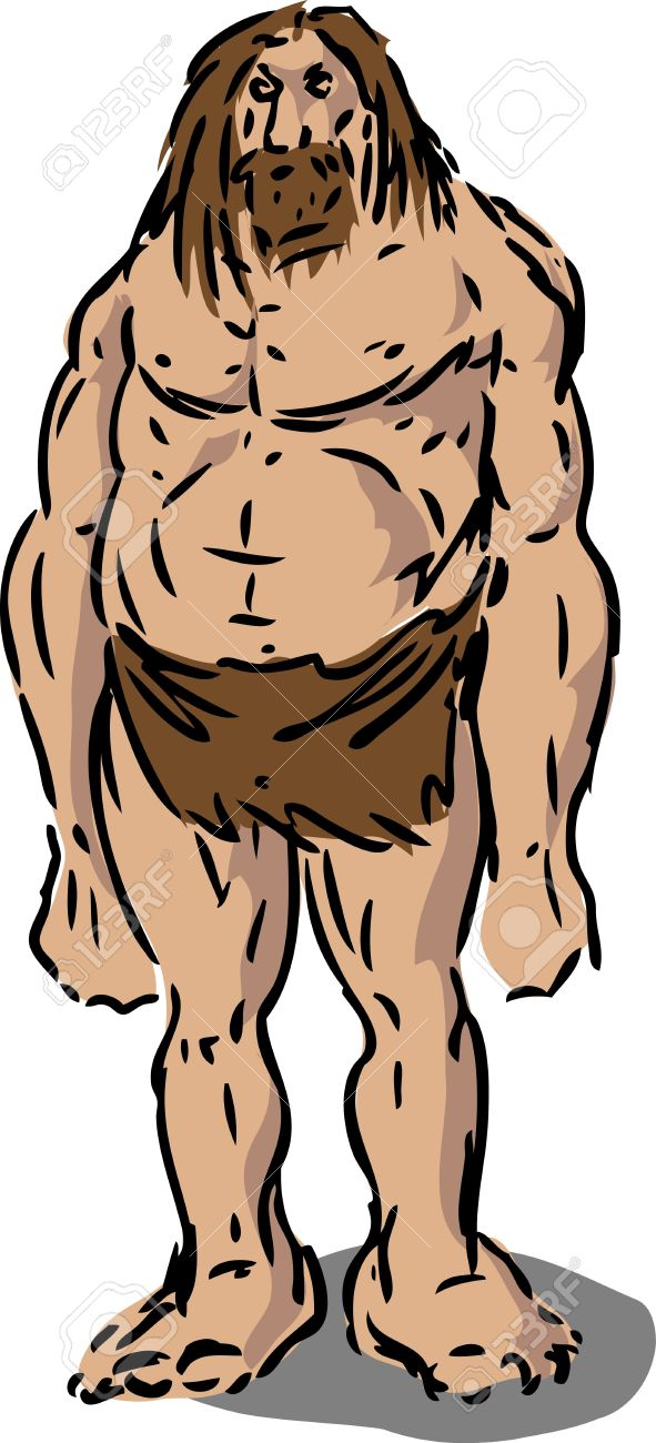 Scruffy Caveman Neanderthal Hairy Male Illustration Stock Photo.
