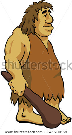 Neanderthal Caveman Holding His Club Stock Vector 143610658.