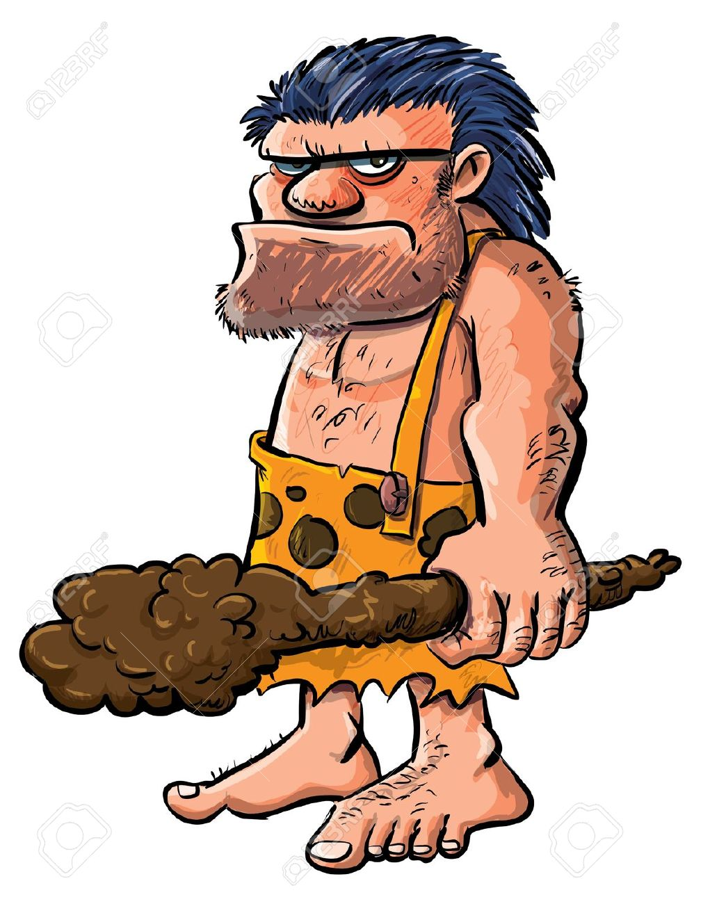 Cartoon Caveman With A Club.Isolated On White Royalty Free.