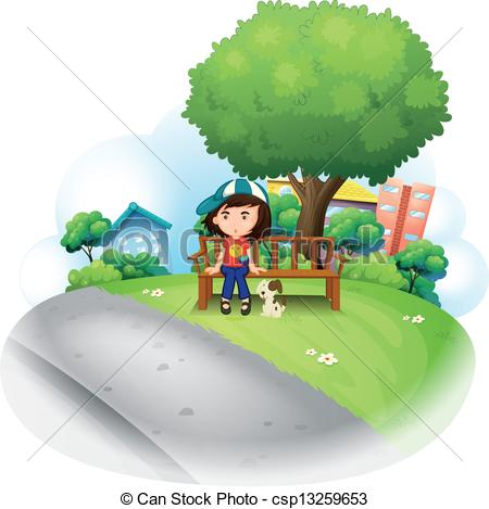 Clipart Vector of A girl sitting at the wooden bench near the big.