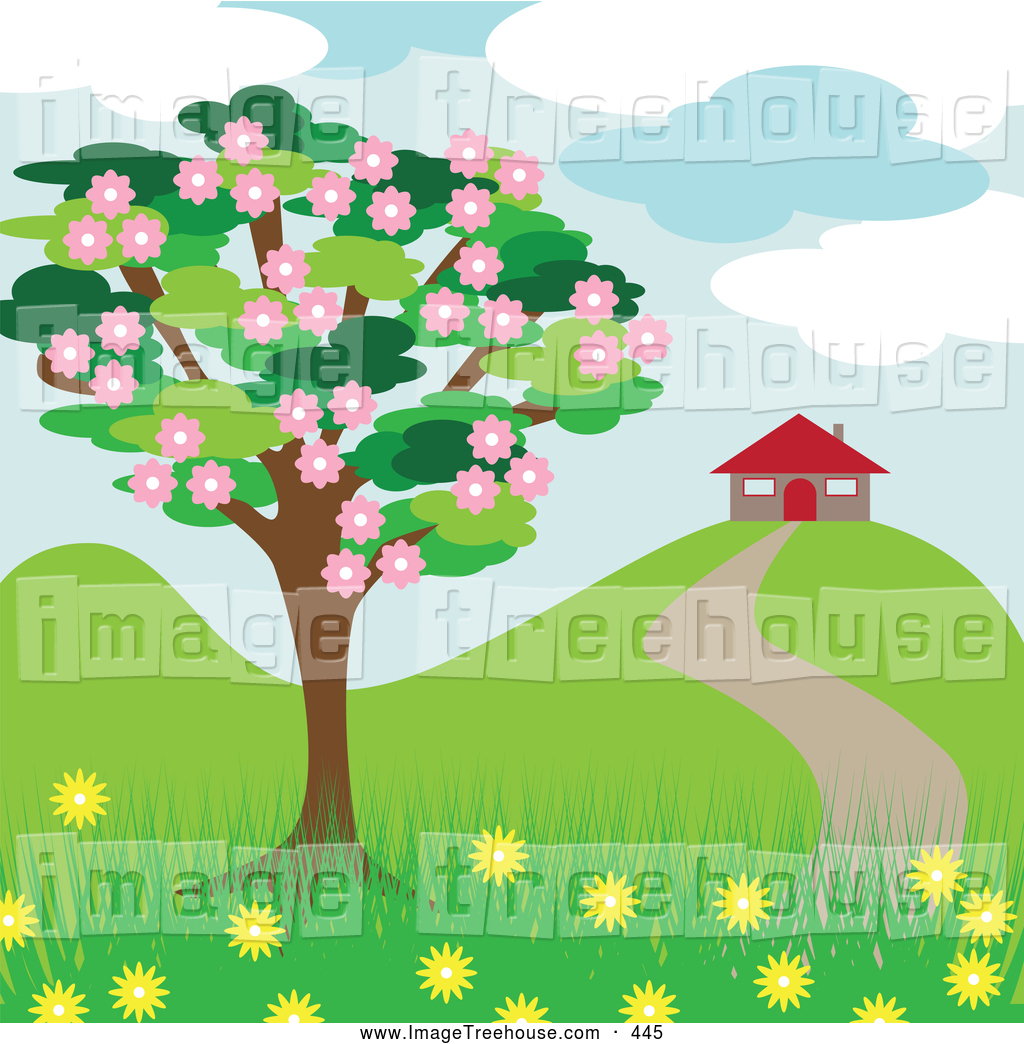 Clipart of a Blooming Tree near a House in the Spring by kaycee.