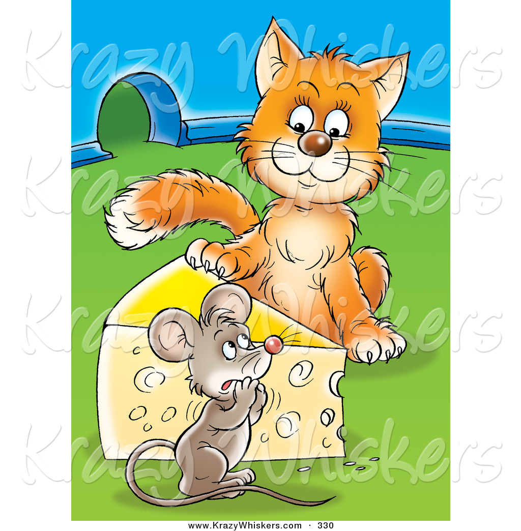 Critter Clipart of an Orange Cat Standing on the Other Side of a.