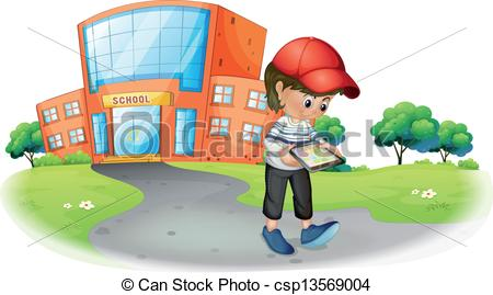 Vector Clipart of A boy holding a gadget near the school.