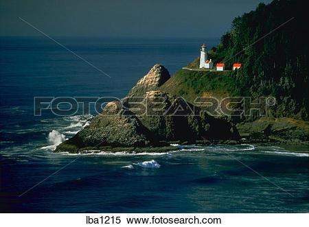 Stock Image of Heceta Head Lighthouse and coastline near Florence.