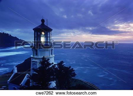 Stock Photo of Heceta Head Lighthouse at sunset near Florence.