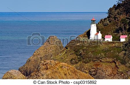Stock Photo of Close View of Heceta Head Lighthouse on Oregon.