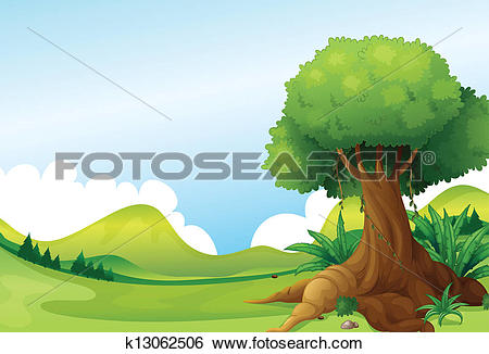 Clip Art of A big tree with vine plants near the hills k13062506.