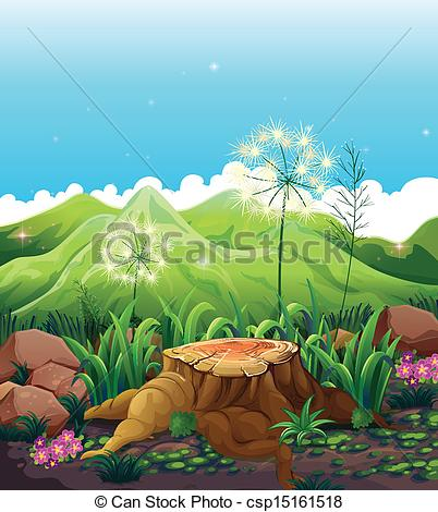Vector Clip Art of A stump near the mountains.