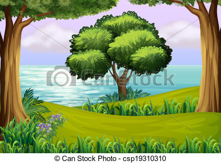 Vector Clip Art of Hills with trees near the river.