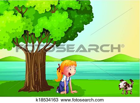 Clipart of A young girl and her pet near the tree k18534163.