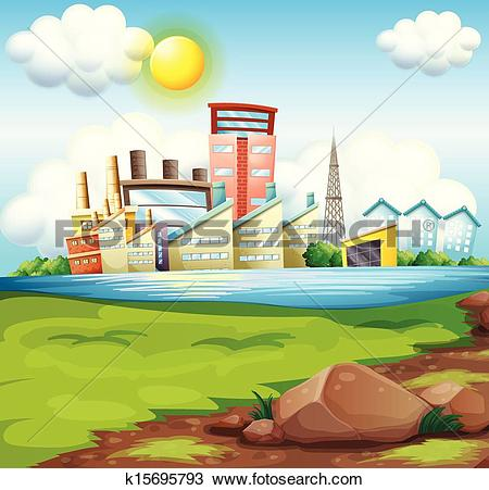 Clipart of Factories near the river k15695793.