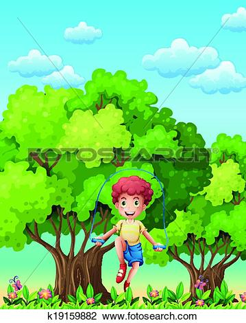 Clipart of A boy playing with the skipping rope near the trees.