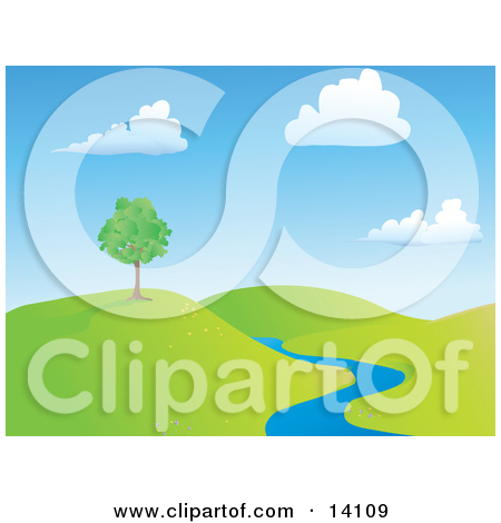 Summer Tree on a Hill Near a Creek Clipart Illustration by.