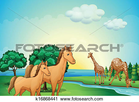 Clipart of Horses and giraffe near the river k16868441.