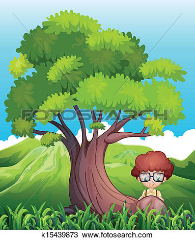 Clipart of A young boy near the roots of the giant tree k15439873.