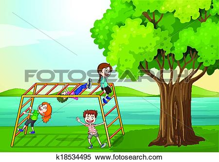 Clipart of Kids climbing near the tree k18534495.