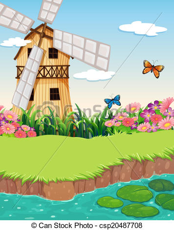 Vector Clipart of A barnhouse with a windmill near the river.